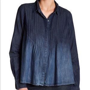 New Current Elliott Lucy Tuck Blouse in Denim
